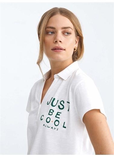 Xint XINT Polo Yaka Pamuklu Rahat Kesim Tişört Beyaz